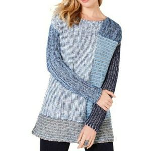 Style & Co Color Block Tunic Sweater Blue/Grey M